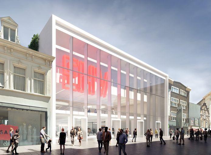 Een eerste impressie van het nieuwe pand dat aan de Rechtestraat in Eindhoven zou kunnen worden gebouwd. De HEMA is inmiddels verhuisd. Intussen is een wijziging van de plannen aangekondigd. Er zouden ook twee woontorens op het gebouw moeten komen.
