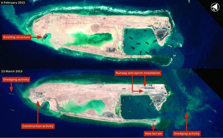 Fiery Cross Reef, één van de eilanden in de Zuid-Chinese Zee. Beeld reuters