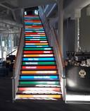 Bij Pichai's kantoor is er een speciale trap die de woorden weergeeft waarop in de VS het meest wordt gezocht via Google.