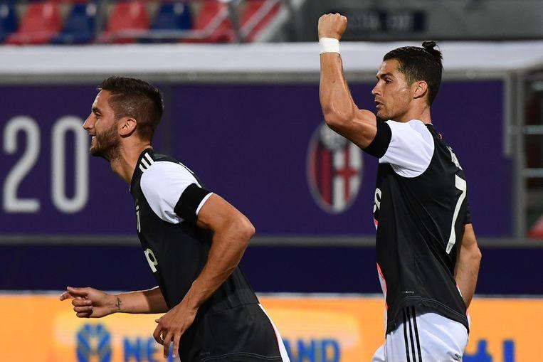 Ronaldo viert. De Portugees stond vier matchen droog.