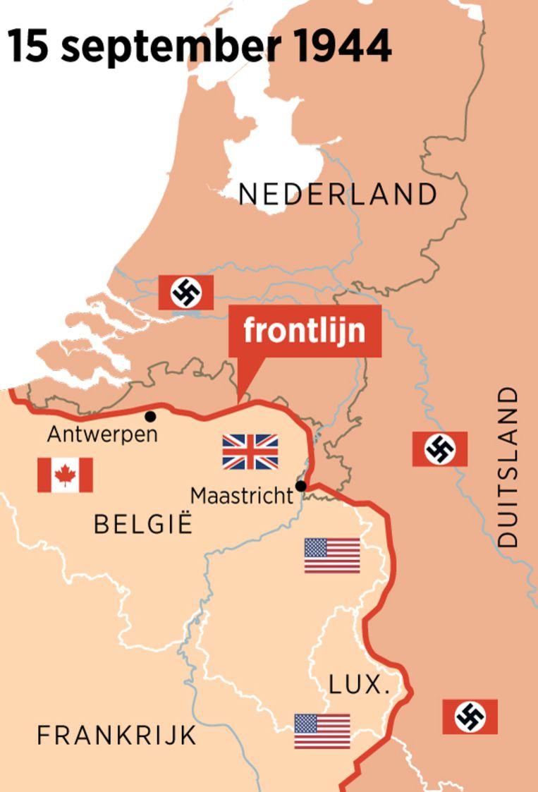 Frontlijn tussen bezet en bevrijd Nederland op 15 september 1944. Beeld Trouw/Louman & Friso