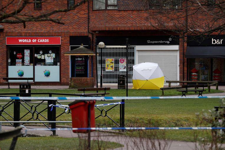 Dubbelspion Sergej Skripal en zijn dochter Joelia werden half bewusteloos op een bankje gevonden bij een winkelcentrum in Salisbury. Beeld AFP