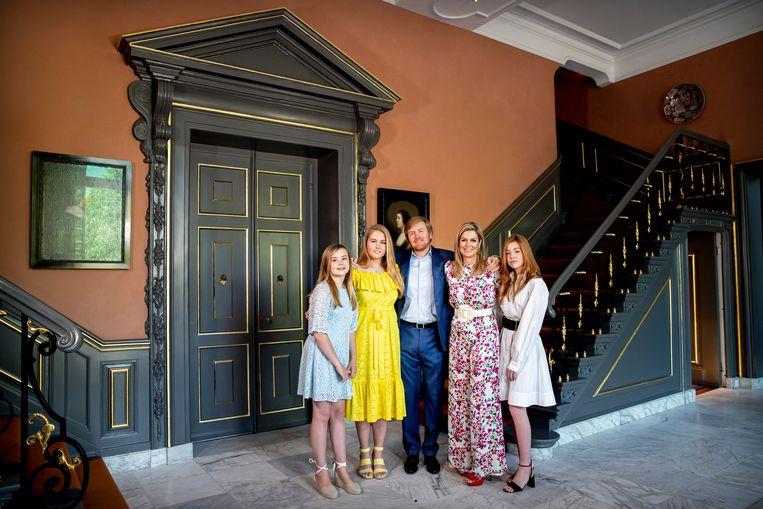 Koning Willem-Alexander, Koningin Maxima en de Prinsessen Amalia, Alexia en Ariane vieren Koningsdag in Paleis Huis ten Bosch. Beeld BSR Agency