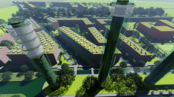 Illustraties van de plannen van studenten voor Harculo 2050, met o.a. 1200 woningen, vijf torens, veel water en nog meer groen.
