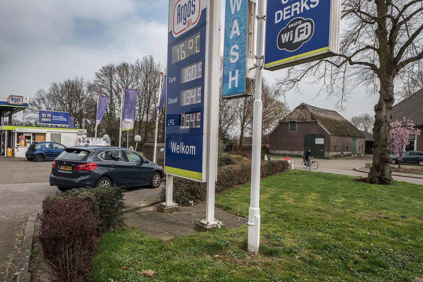 De schuur (rechts) aan de Garstkampsestraat. Ertegenover staat nu nog het benzinestation.