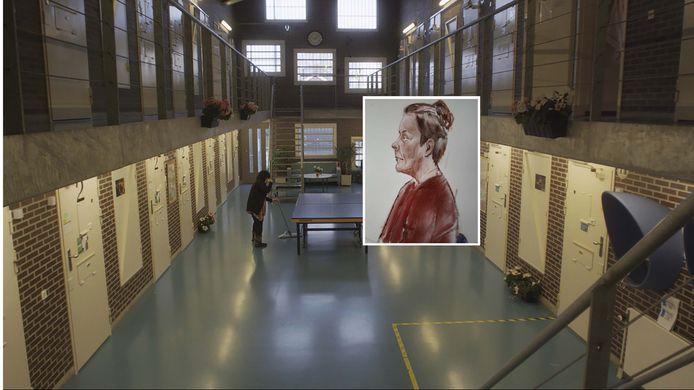 De Schiedamse (inzet) wordt nu opnieuw vervolgd, omdat ze volgens justitie vanuit de gevangenis in Nieuwersluis waar ze haar straf uitzit, een mede-gedetineerde heeft benaderd met het verzoek twee huurmoordenaars haar ex te laten vermoorden. © AD