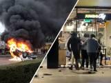 Geplunderde winkels in station Eindhoven bij rellen