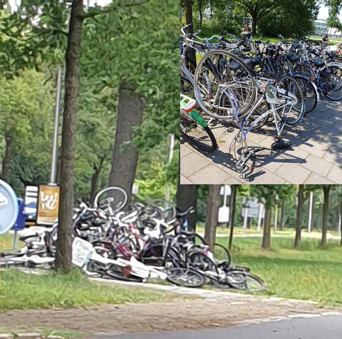 De bult met fietsen. Rechts bovenin een foto van vanochtend. De meeste tweewielers staan weer rechtop, maar de schade is groot.