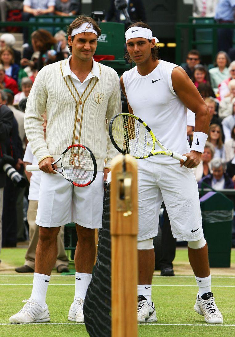 Roger Federer en Rafael Nadal. Beeld Getty