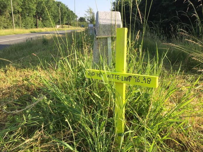Iemand plaatste eerder dit jaar een kruis met de tekst 'RIP Het Witte Lint' langs de N348 in Zutphen.