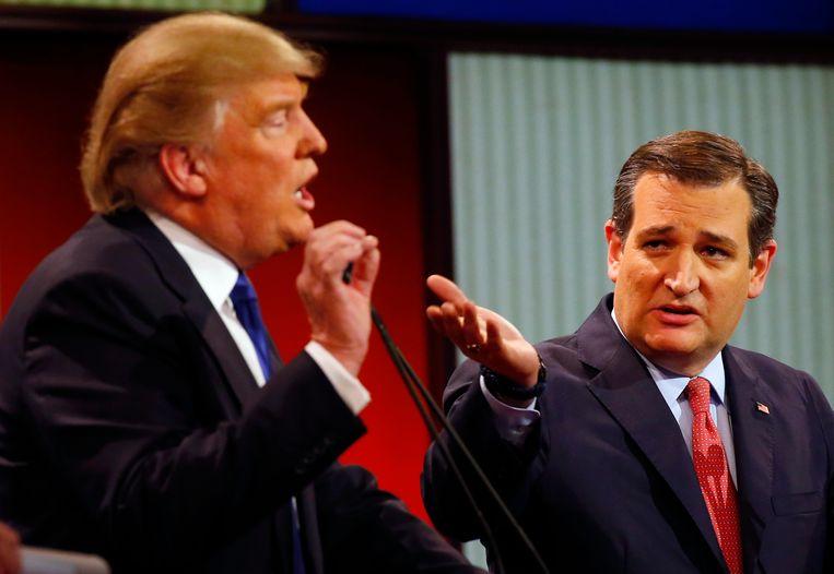 Donald Trump en Ted Cruz tijdens een debat op 3 maart.