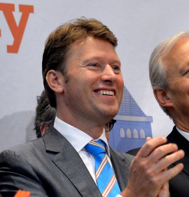 Emiel Roozen tijdens de opening van de beurs op Wall Street (2012). Beeld afp