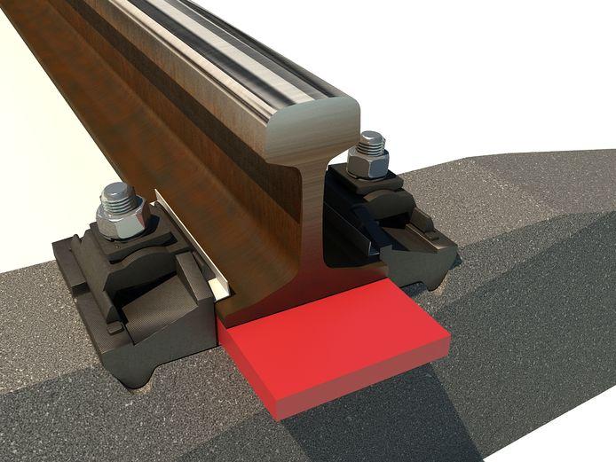 De kunststof wig wordt tussen de spoortstaaf en de betonnen onderlegger gemonteerd. Dat heeft een dempend effect voor trillingen ook omdat de rails zo op gelijke hoogte komen.