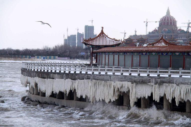 IJspegels in de haven van de Noord-Chinese stad Penglai. Beeld afp