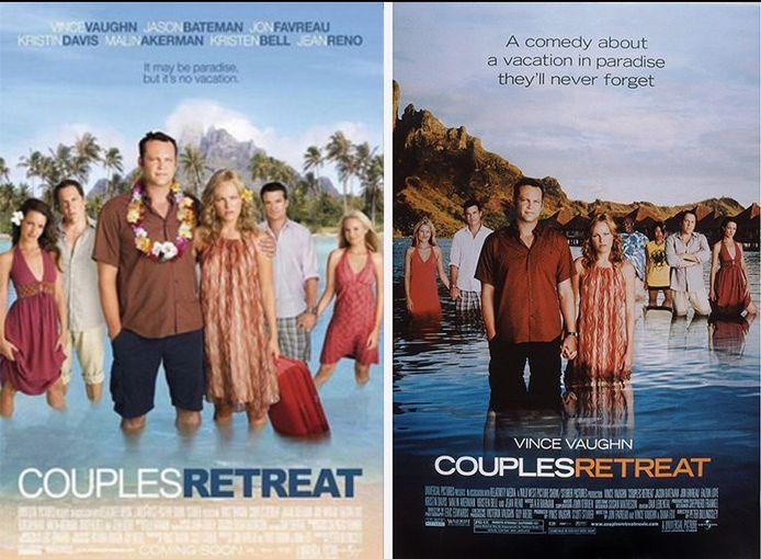 De twee posters van 'Couples Retreat' uit 2009. Links zonder zwarte acteurs, rechts met.