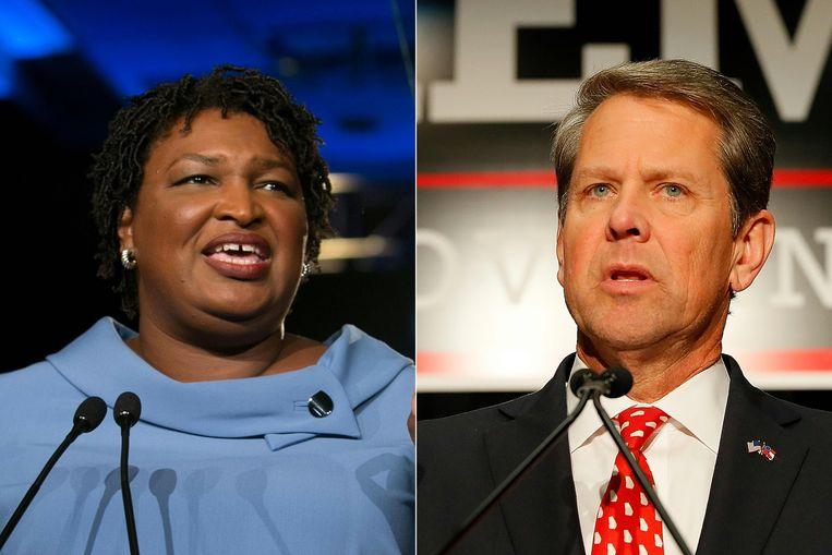 Stacey Abrams en Brian Kemp.
