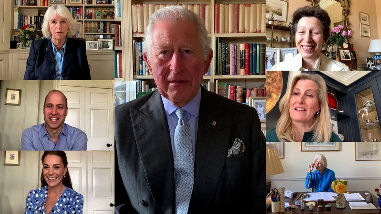 Prins Charles ziet zijn familie vooralsnog alleen via videobellen. Links: zijn vrouw Camilla, daaronder prins William en diens vrouw Catherine. Rechts Charles' zus prinses Anne, daaronder schoonzus prinses Sophie en zijn tante prinses Alexandra.