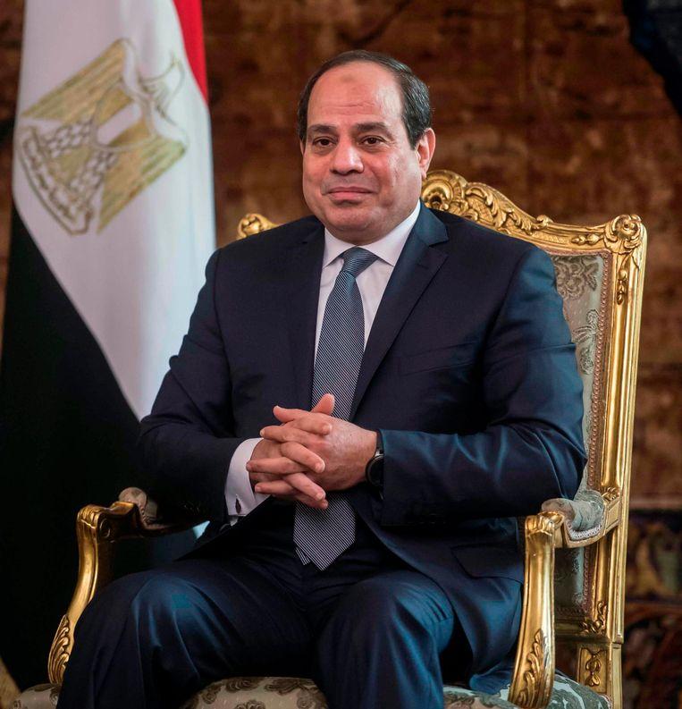 Zittende president Abdel Fattah al-Sisi. Beeld afp