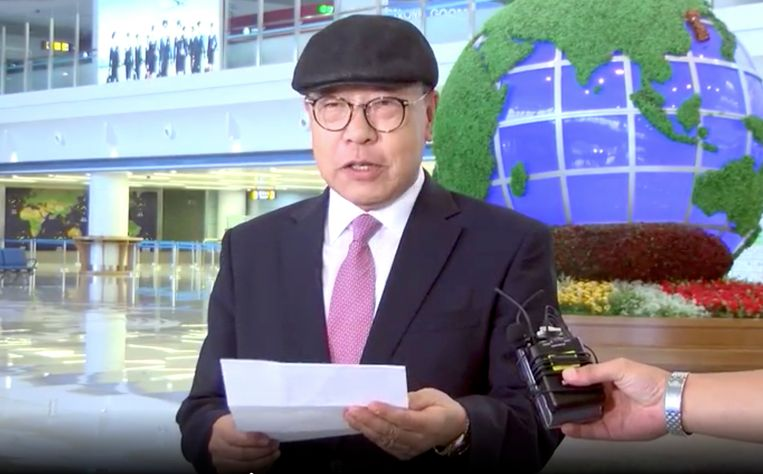 Bij zijn aankomst op de luchthaven van Pyongyang afgelopen zaterdag las Choe In-guk een verklaring voor.