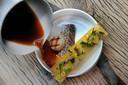 Archieffoto van gerecht bij Mezger: Pierman/ coquille/ lamsoor/ saffraan/ bouillon van Oosterscheldekreeft