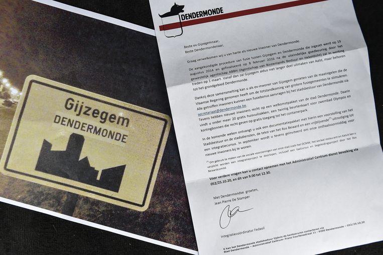 De brief waarin de annexatie bij Dendermonde een feit zou zijn.