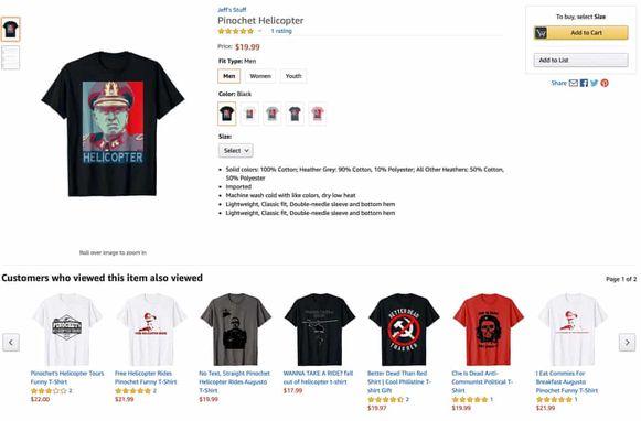 Een deel van de collectie 'Pinochet-shirts' van Amazon, waarvan sommige nog altijd verkrijgbaar zijn.