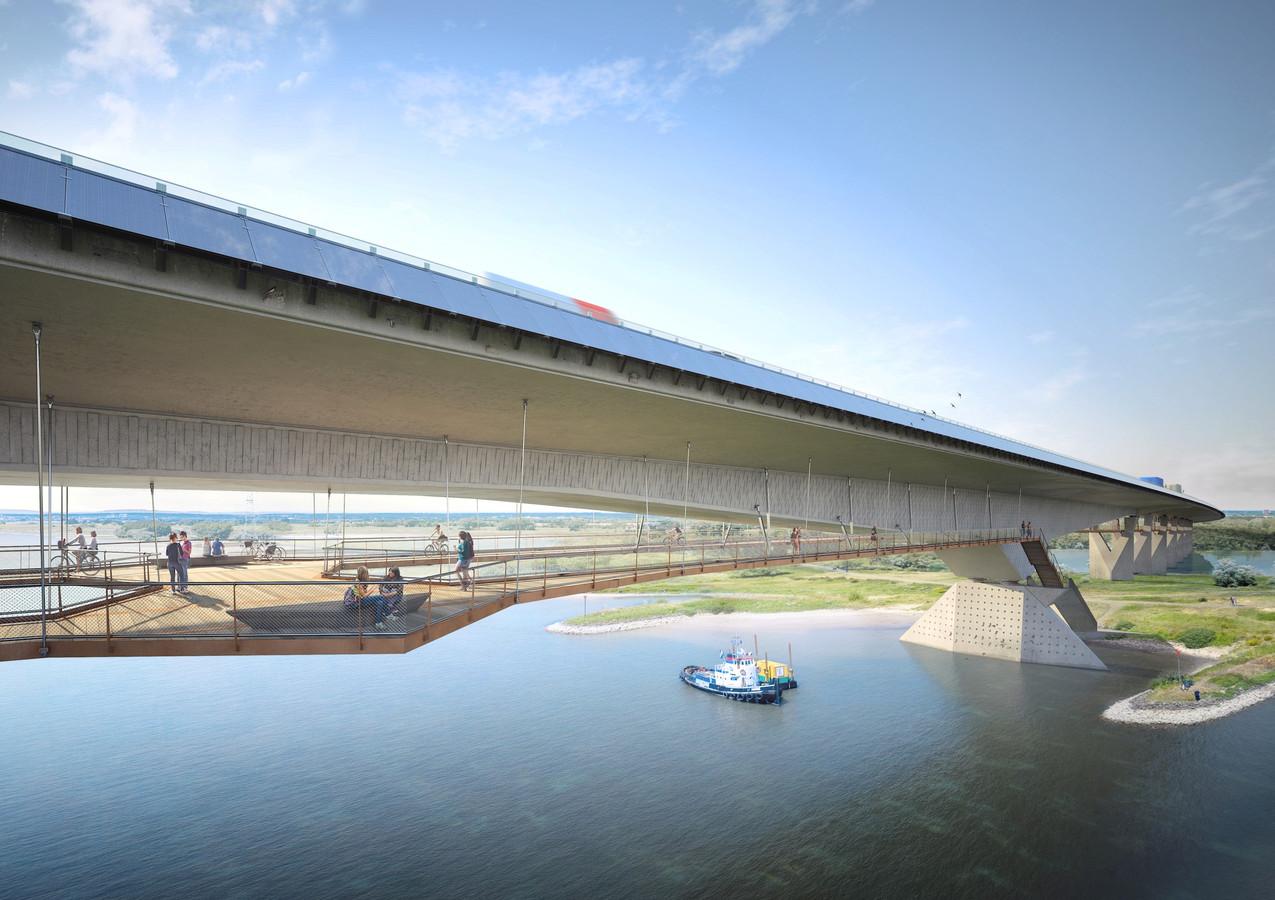 De nieuwe fiets- en wandelbrug die onder de brug over het Pannerdensch Kanaal komt te hangen.
