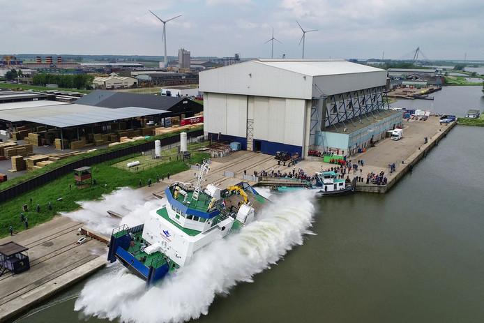 Tewaterlating derde Pusher Tug bij Thecla Bodewes Shipyards in Kampen. Het schip wordt ingezet op en rondom de Kaspische Zee.