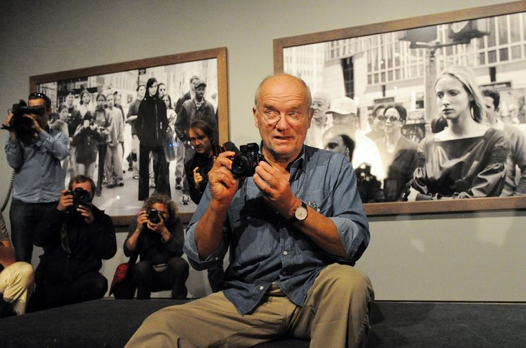 "Picture taken on September 24, 2019 shows German photographer Peter Lindbergh during a press conference for his show ""Peter Lindbergh - On Street"" in Berlin. - Peter Lindbergh died aged 74, his family announced on September 4, 2019. (Photo by Tobias KLEINSCHMIDT / DPA / AFP) / Germany OUT"