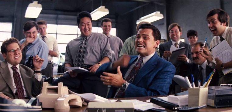 Leonardo DiCaprio als Jordan Belfort in The Wolf of Wall Street van Martin Scorsese. Beeld