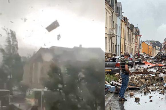 Na de doortocht van de tornado blijft een ware ravage achter.