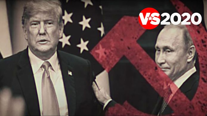 Beeld uit een verkiezingsspot van Republikeinen tegen Trump, waarin hem hulp van Rusland wordt verweten.