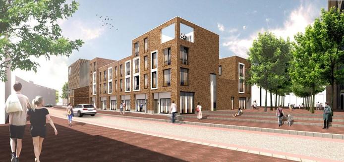 Het eerste ontwerp voor de woningen op het Kerkplein in Arnhem.