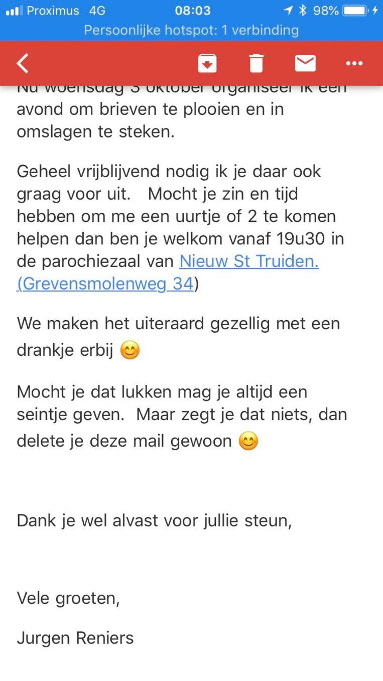 De bewuste mail van Jurgen Reniers.