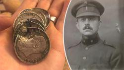 """""""Deze munten stopten een kogel en redden het leven van mijn overgrootvader"""": jonge Vlaming haalt BBC met opmerkelijk oorlogsverhaal"""