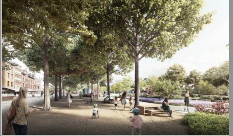 Het park zal deels bovenop de twee parkings aangelegd worden
