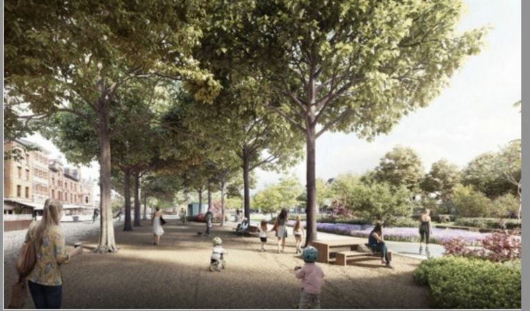 Een impressie van het toekomstige park op de Gedempte Zuiderdokken.
