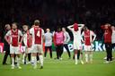 Enorme teleurstelling bij de Ajax-spelers.