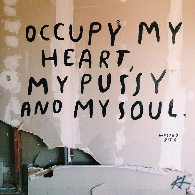 Een voorbeeld van een werk van Wasted Rita, die voor interventies in de stad zal instaan.
