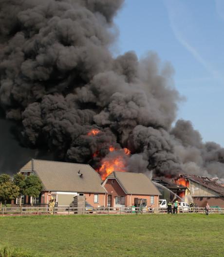 Brandlucht in de Betuwe door grote brand in varkensstal Streefkerk