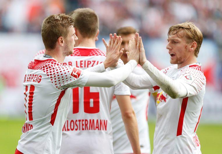 Timo Werner en Emilm Forsberg, respectievelijk de goalgetter en assistkoning van Leipzig.