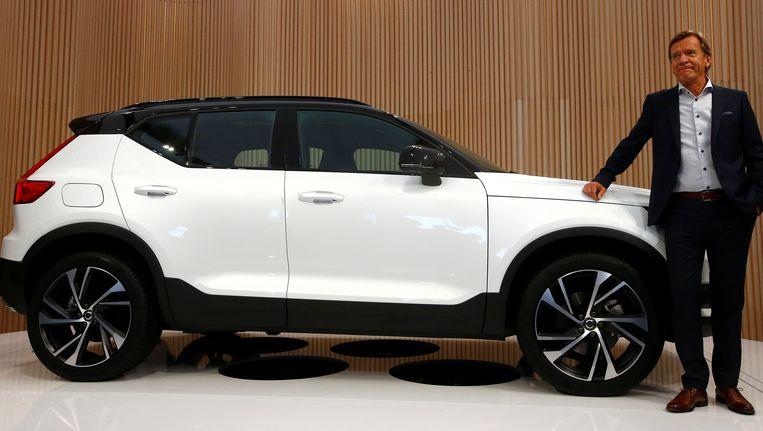 Hakan Samuelsson, CEO van Volvo tijdens de onthulling van het nieuwe model in Milaan.
