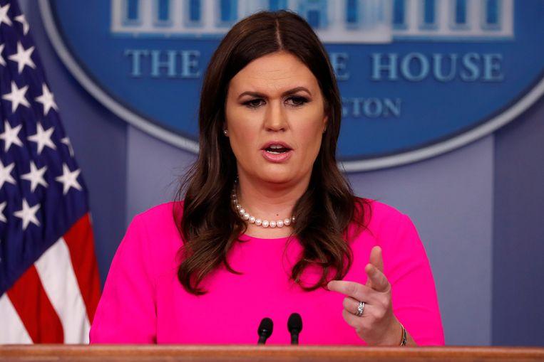 Sarah Huckabee Sanders is persvoorlichter van het Witte Huis. Beeld REUTERS