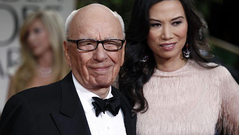 Rupert Murdoch en zijn vrouw Wendi op de uitreiking van de Golden Globes in Los Angeles. Beeld ap