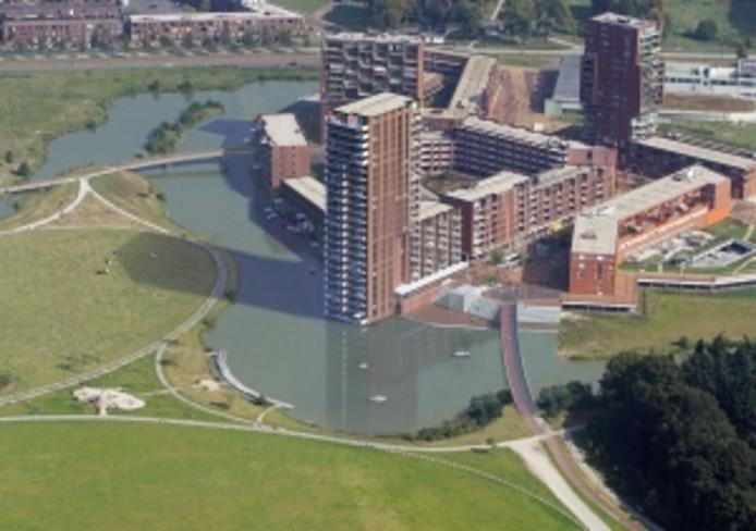 Impressie van het centrum van Meerhoven, met in het midden de woontoren die nu in aanbouw is en rechts de brug die komende maand wordt aangelegd.