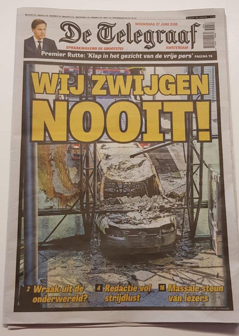 De voorpagina van De Telegraaf op woensdag. Beeld -
