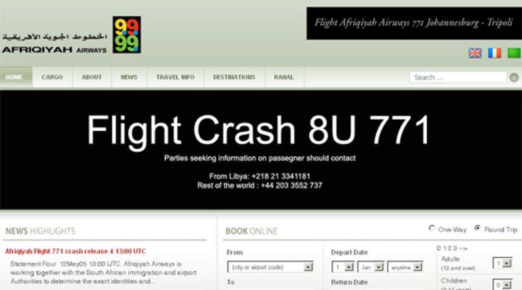 (Website Afriqiyah Airways) Beeld