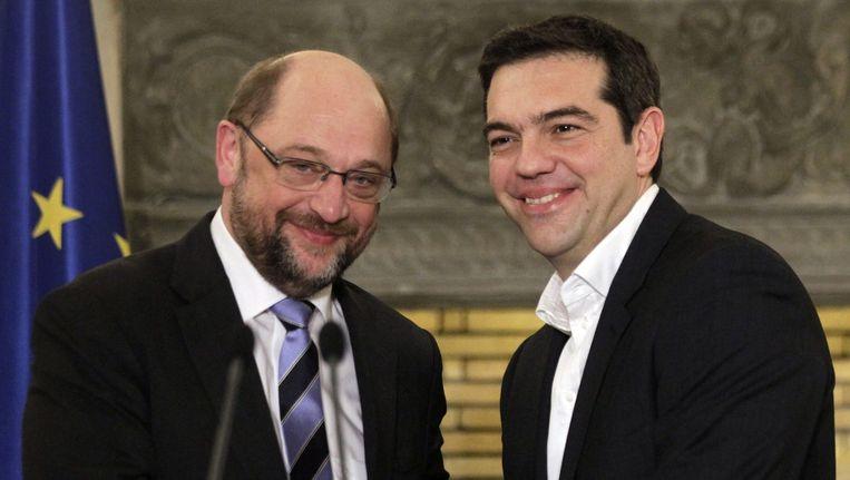 Europarlementsvoorzitter Schulz en de Griekse premier Tsipras.