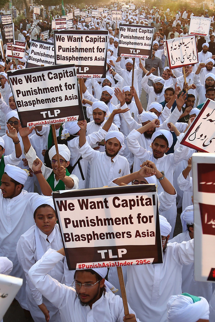 Protesten tegen Asia Bibi in Pakistan.