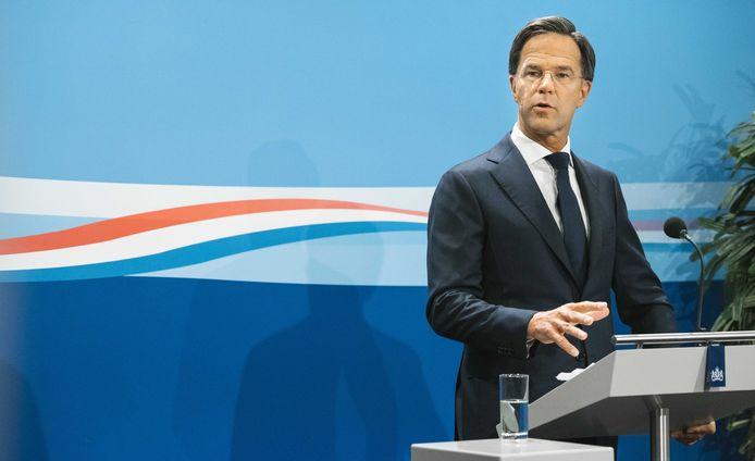Minister-president Mark Rutte tijdens de persconferentie